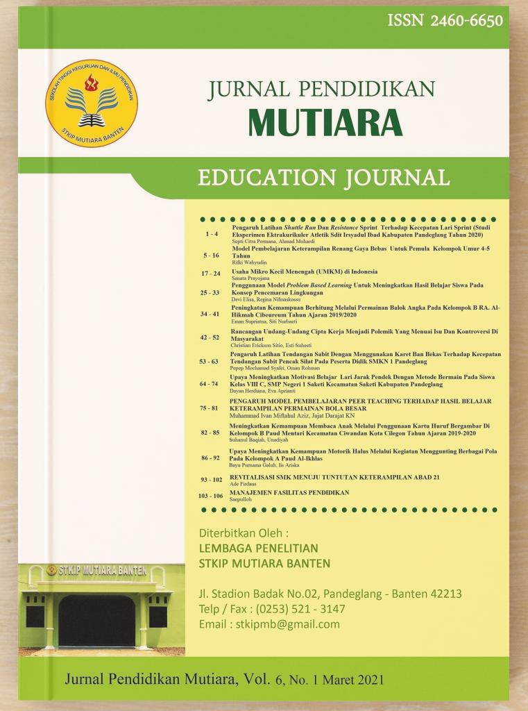 Cover - Jurnal Pendidikan Mutiara Vol 6 No. 1 Maret 2021